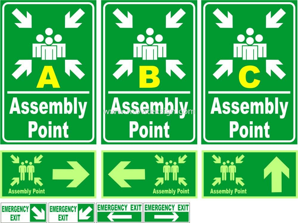 Assembly point area/in board or 3M Vinyl or Night Glow Sticker Safety Sign Sample Industry Safety Sign and Symbols Image Johor Bahru (JB), Johor, Malaysia. Design, Supplier, Manufacturers, Suppliers | M-Movitexsign Advertising Art & Print Sdn Bhd