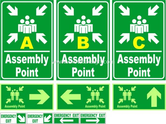 Assembly point area/in board or 3M Vinyl or Night Glow Sticker