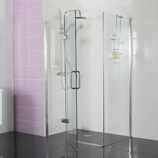Decem Hinged Door with Hinged Inline Panel for Corner Fitting Decem Shower Screen