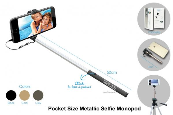 MB018 Pocket Size Metallic Selfie Monopod