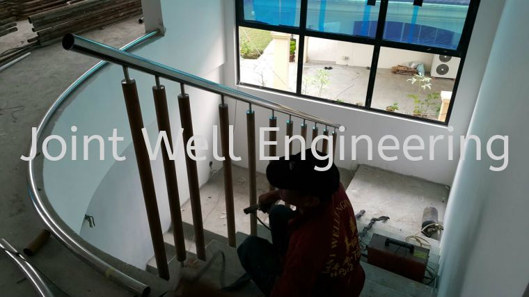 Steel Handle With Wood Stainless Steel Stair Hand Railing