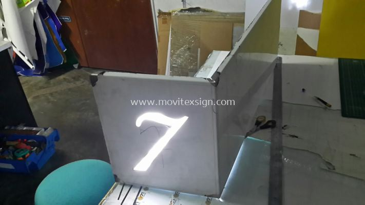 stainless door sign cut hollow with LED lighting