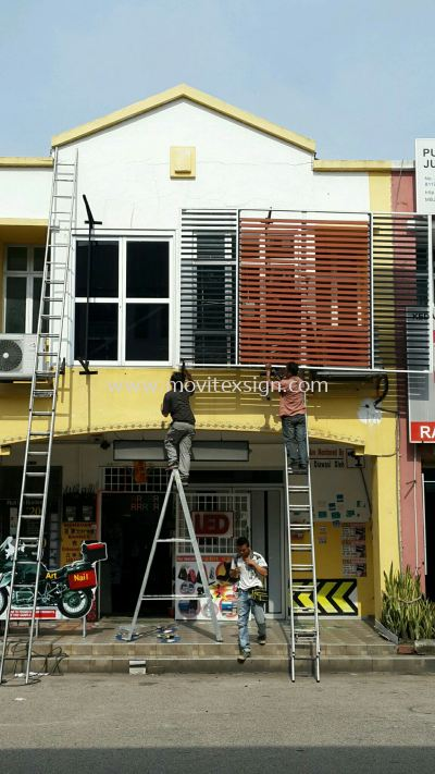 repair shop front Signboard  Aluminium window blind or sign frame