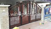 WAE 1754 Wrought Iron Metal Folding Gate and Fully Aluminum Wood Plate Black