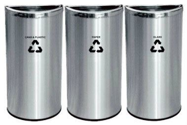 EH Stainless Steel Semi Round Open Top Recycle Bin Recycle Bins