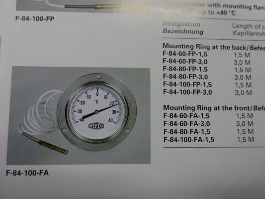 REFCO F-84 Series Thermometer With Capillary Tube (Range: -40 up to +40C)