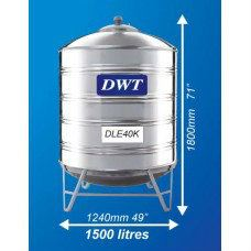 DLE40K Stainless Steel Water Tank (With Stand Round Bottom) DWT Stainless Steel Water Tank