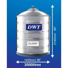 DLE60F Stainless Steel Water Tank (Without Stand Flat Bottom) DWT Stainless Steel Water Tank