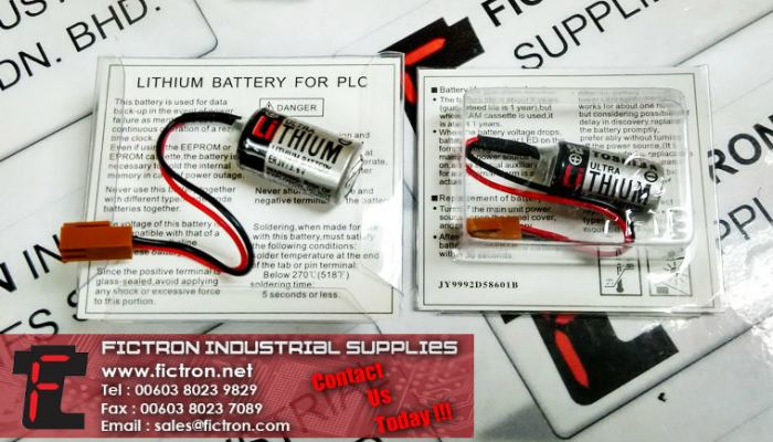 ER3V 3.6V TOSHIBA PLC Lithium Battery with Plug Supply Malaysia Singapore Thailand Indonesia Philippines Vietnam Europe