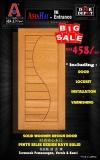 SOLID WOODEN DESIGN DOOR.. Door+Lockset+Installation+Varnishing.. Contact us: 075116268