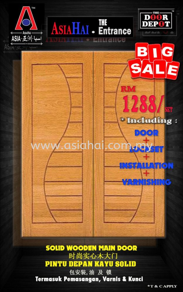 SOLID WOODEN MAIN DOOR.. include installation+varnishing+lockset.. only RM1288!!