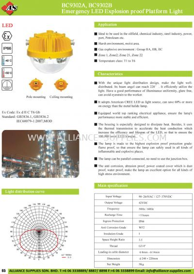 17.04.2 BC9302A, BC9302B Emergency LED Explosion Proof Platform Light