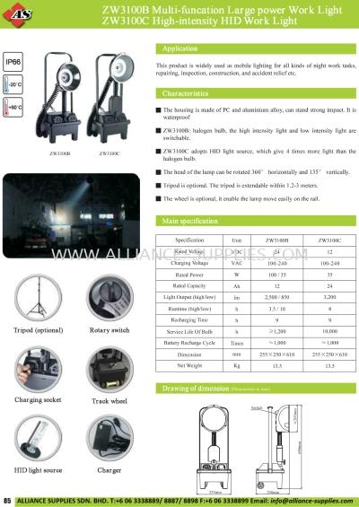 17.06.1 ZW3100B, ZW3100C Multi-Function Large Power Work Light/ High-Intensity HID Work Light