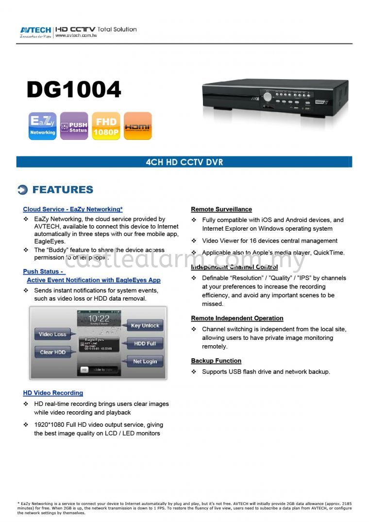 AV TECH - DG1004 AV Tech HD Analogue CCTV System