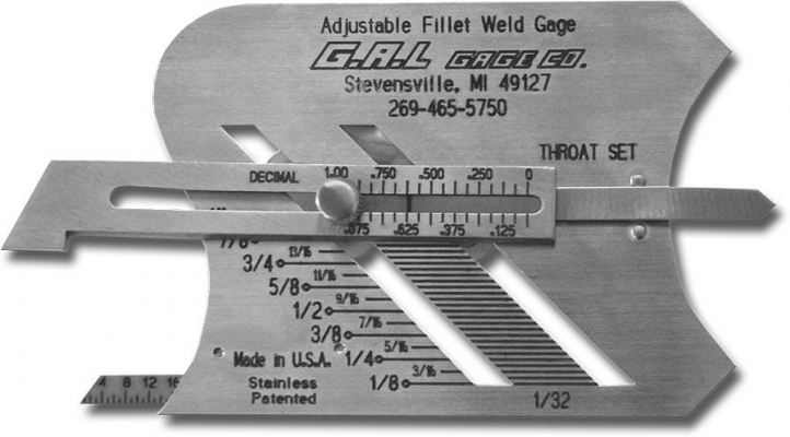 G.A.L gage - Adjustable Fillet Weld Gauge Cat # 3