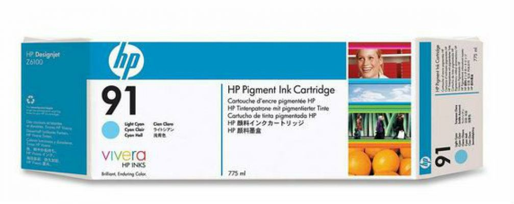HP 91 ORIGINAL LIGHT CYAN INK CARTRIDGE (C9470A) COMPATIBLE TO HP PRINTER Z6100