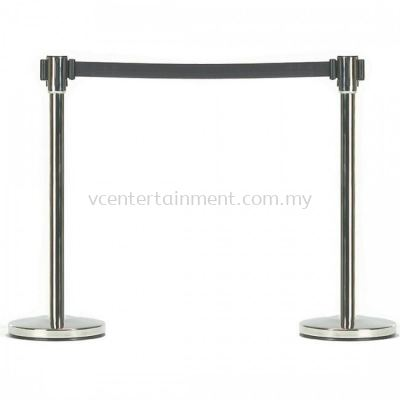 Silver Queue Up Stand with Retractable Belt Black