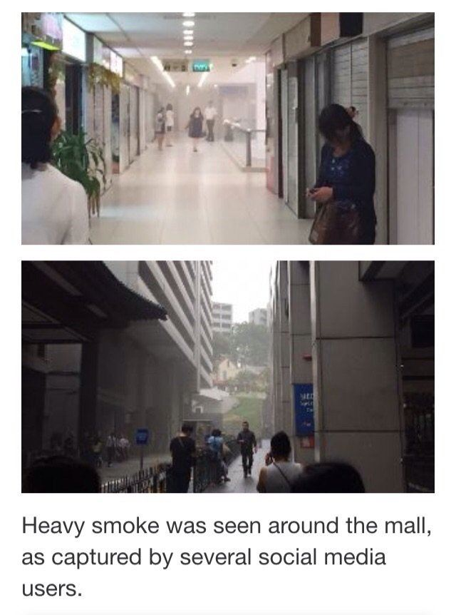 Smoke gushing out from level 2 at Lucky Plaza, Orchard Road (18/12/15)