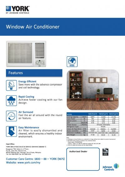 YORK Window Air-Conditioner [3 Star] Non-Inverter (R410A)
