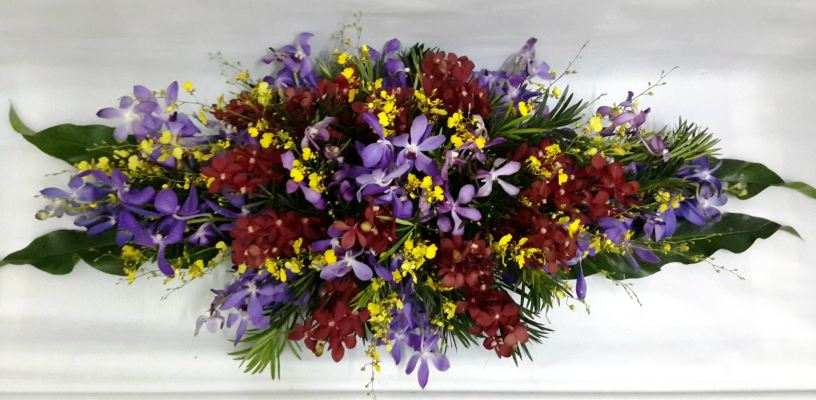 Orchid long and low table arrangement (BA-105)