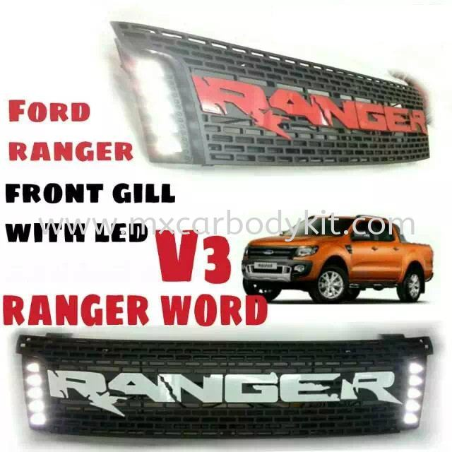 FORD RANGER FRONT GRILLE WITH LED V3 RANGER WORD  RANGER T6 FORD