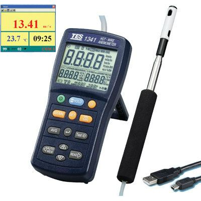 Hot-Wire Anemometer TES 1341 Air Flow Testers Climatic / Environment Inspection