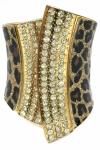 Tiger Skin With Rhinestone Big Bangle (Gold) Bangles Jewellery