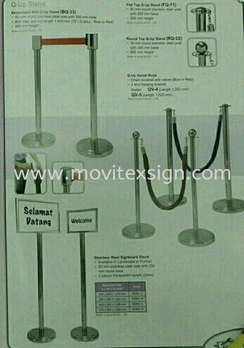 Q pole stand made  of stainless steel /sign holder or spring belting  White board /Exhibition pannel /Ness Racks and others Johor Bahru (JB), Johor, Malaysia. Design, Supplier, Manufacturers, Suppliers   M-Movitexsign Advertising Art & Print Sdn Bhd