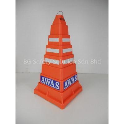 "RETRACTABLE SAFETY CONE with ""AWAS"" or ""POLIS"" signage"