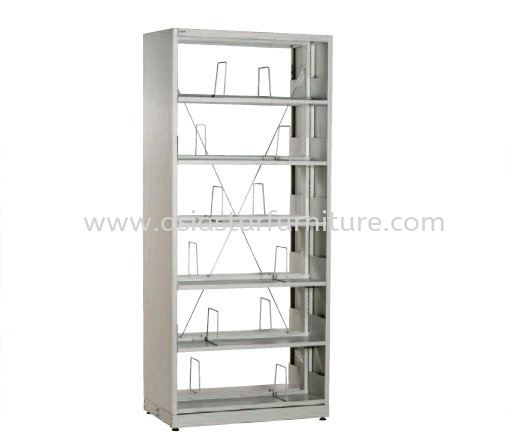 LIBRARY SHELVING DOUBLE SIDED WITH SIDE PANEL AND 6 SHELVING