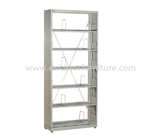 LIBRARY SHELVING SINGLE SIDED WITH SIDE PANEL AND 6 SHELVING
