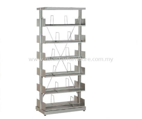 LIBRARY SHELVING DOUBLE SIDED WITH 6 SHELVING