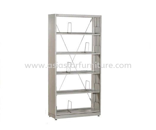 LIBRARY SHELVING SINGLE SIDED WITH SIDE PANEL AND 5 SHELVING