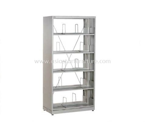 LIBRARY SHELVING DOUBLE SIDED WITH SIDE PANEL AND 5 SHELVING