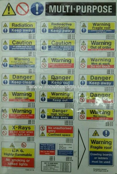 multi purpose safety sign/ label sign