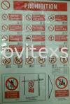 prohibited safety signage in production area  Label safety sign sample