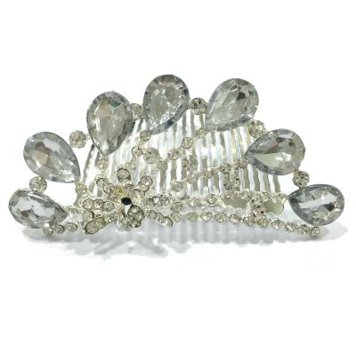 Silver Plated Rhinestone Floral Crown