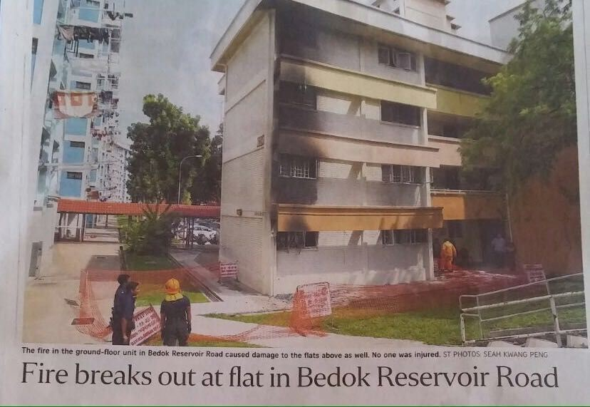 FIRE BREAKS OUT AT BEDOK RESERVOIR ROAD (6/2/16)