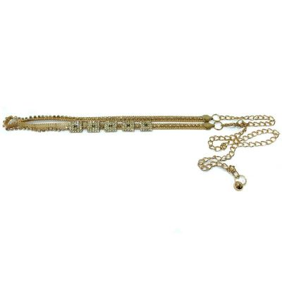 Ladies Style Square Stone Chain Belt (Gold)