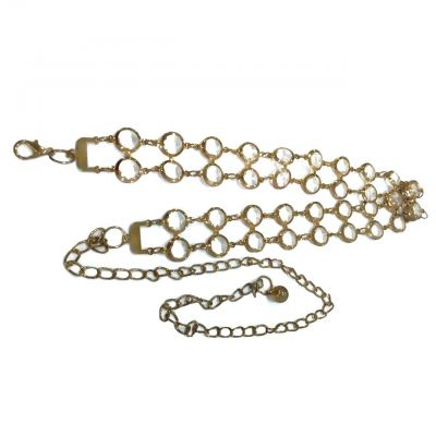 Ladies Style Crystal Chain Belt (Gold/Clear White)