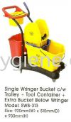 Single Wringer Bucket c/w Trolley + Tool Container + Extra Bucket Below Wringer Mop Bucket Cleaning Equipment