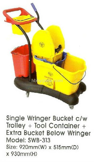 Single Wringer Bucket c/w Trolley + Tool Container + Extra Bucket Below Wringer