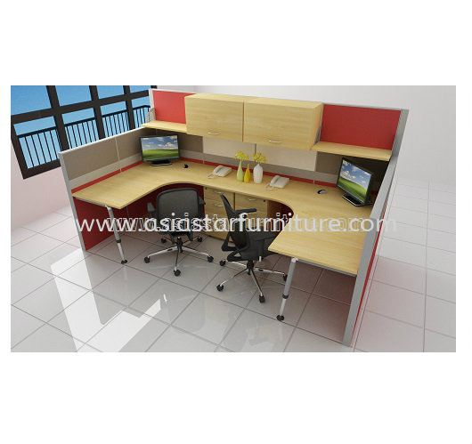 2 CLUSTER L-SHAPE WORKSTATION C/W FULL FABRIC PARTITION, MONOTUBE LEG, FIXED PEDESTAL 2D1F & HANGING CABINET