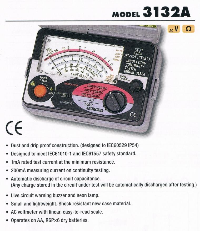 kyoritsu 3132A Analogue Insulation Continuity Testers Kyoritsu Tester Meter