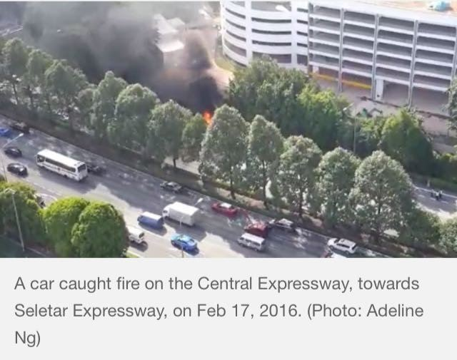 CAR CAUGHT FIRE ON THE CENTRAL EXPRESSWAY (17/2/16)