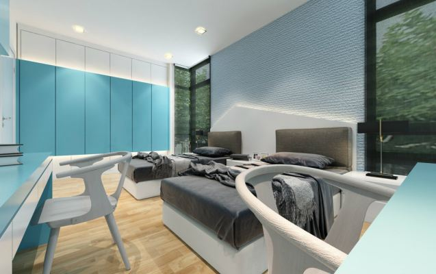 Teenage Room with Skyblue concept