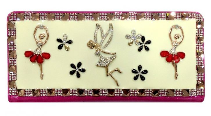 Studded Stone Purse Cum Clutch (Pink/Cream)