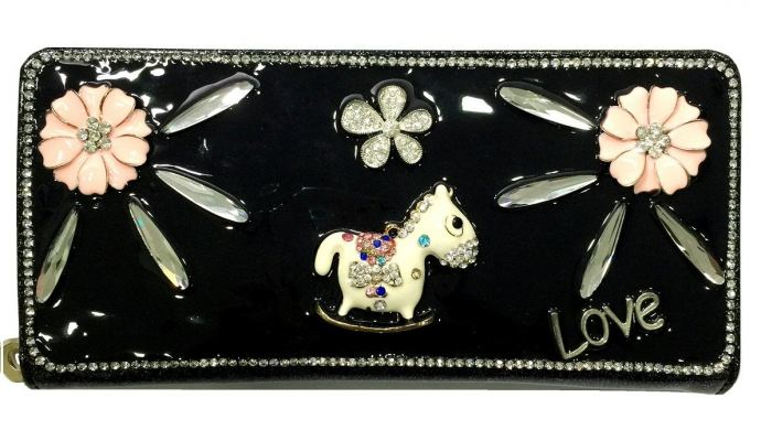 Studded Stone Purse Cum Clutch (Black)