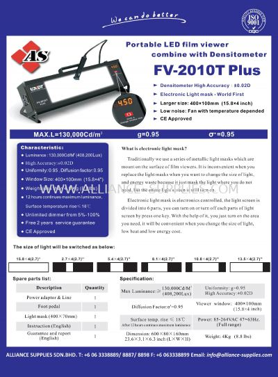 Portable LED Film Viewer Combine with Densitometer FV-2010T Plus