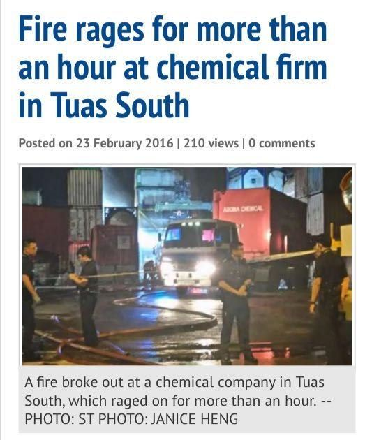 FIRE BROKE OUT AT CHEMICAL FIRM IN TUAS SOUTH (22/2/16)